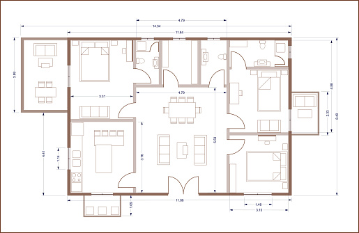 Real estate, housing project construction concept. Residential building blueprint plan