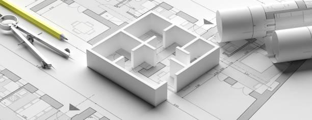 wohngebäude blaupausen pläne und haus modell, banner. 3d-illustration - architekturberuf stock-fotos und bilder