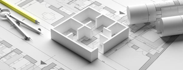 planos de planos de edificioresidencial y modelo de casa, estandarte. ilustración 3d - arquitecto fotografías e imágenes de stock