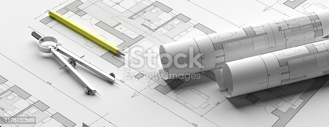 istock Residential building blueprint plans, banner. 3d illustration 1175732569