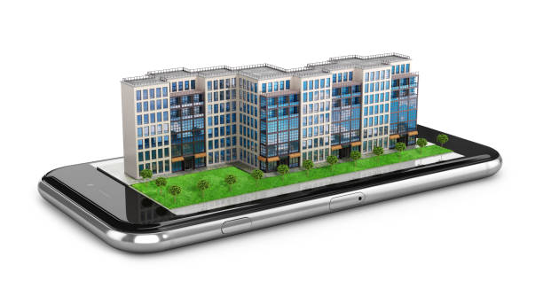 residential building located on the phone. Smartphone. 3d illustration stock photo