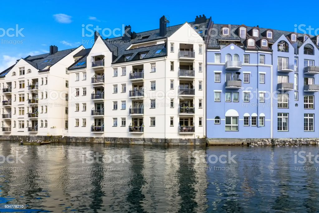 Residential building on the waterfront stock photo