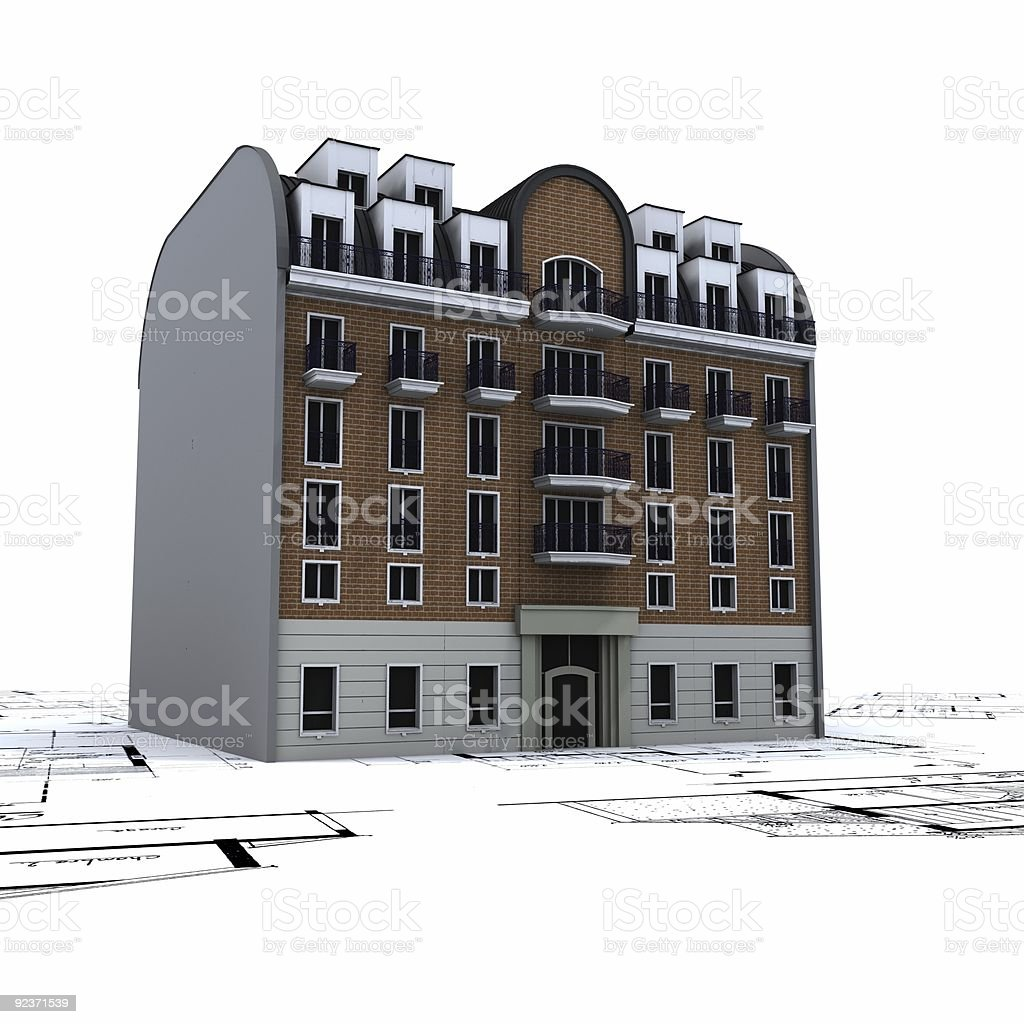 Residential Building on top of architect blueprints royalty-free stock photo