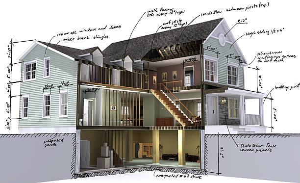 wohngebäude scetch - fassadenschnitt stock-fotos und bilder