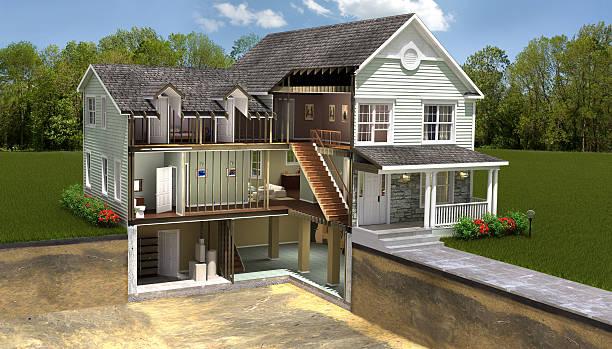 wohngebäude-abschnitt - fassadenschnitt stock-fotos und bilder