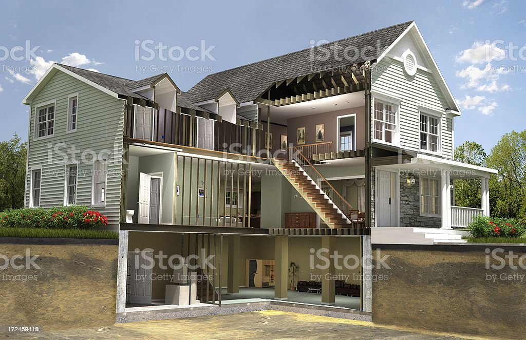 Residential building section royalty-free stock photo