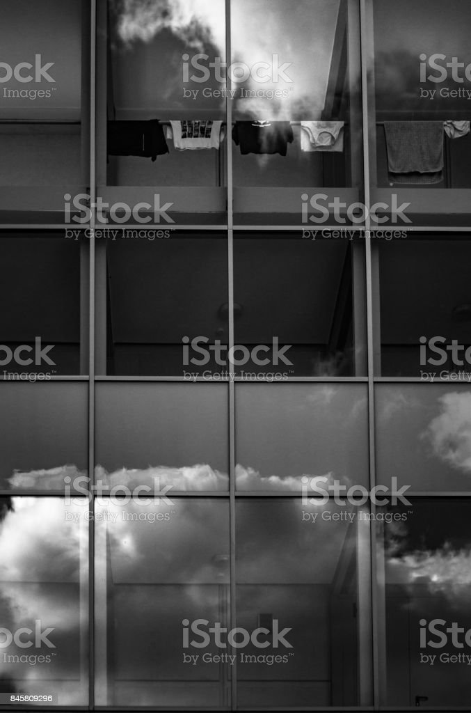 Residential Building with big windows stock photo