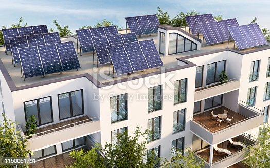 904490858istockphoto Residential building with solar panels on the roof 1150051791
