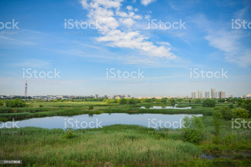 Residential buildings and wild delta Vacaresti in south-eastern Bucharest stock photo