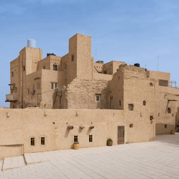 Residential buildings at the Monastery of Saint Paul the Anchorite (aka Monastery of the Tigers), dates to the fifth century AD and located in the Eastern Desert, near the Red Sea mountains, Egypt stock photo