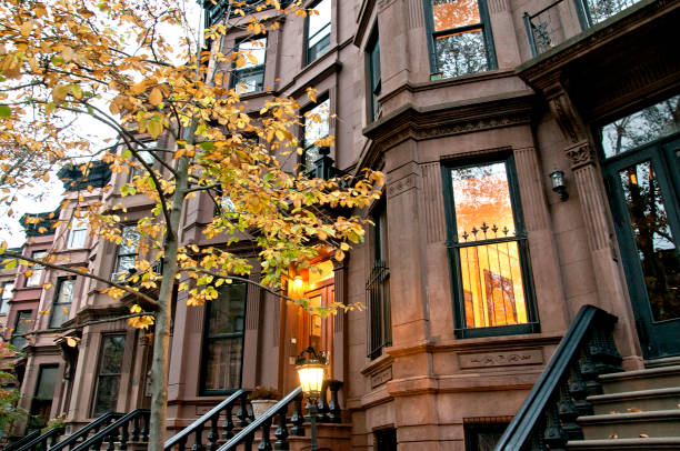 residential buildings in brooklyn borough, new york city - terraced houses stock photos and pictures