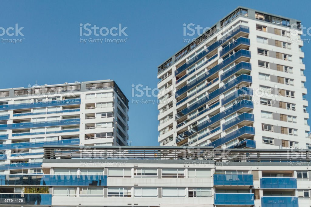 Residential buildings in condominium with balconies in Buenos Aires, Argentina - foto de acervo