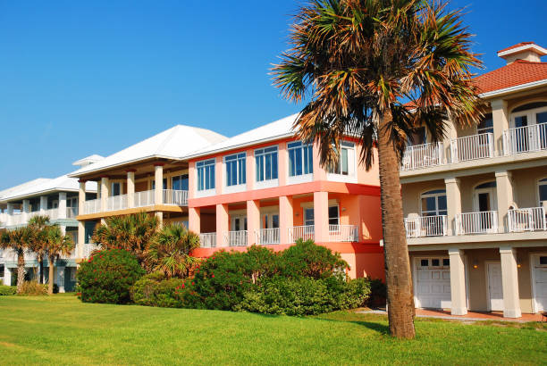 Residential buildings painted in bright pastel colors stock photo