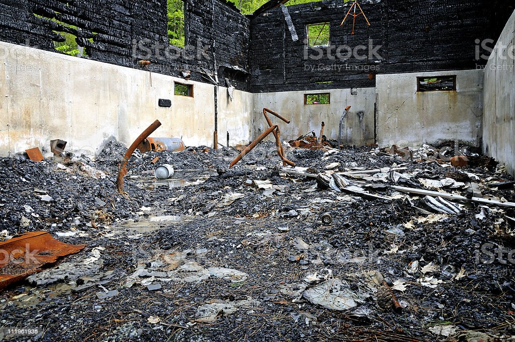 Residential Cabin Remains stock photo