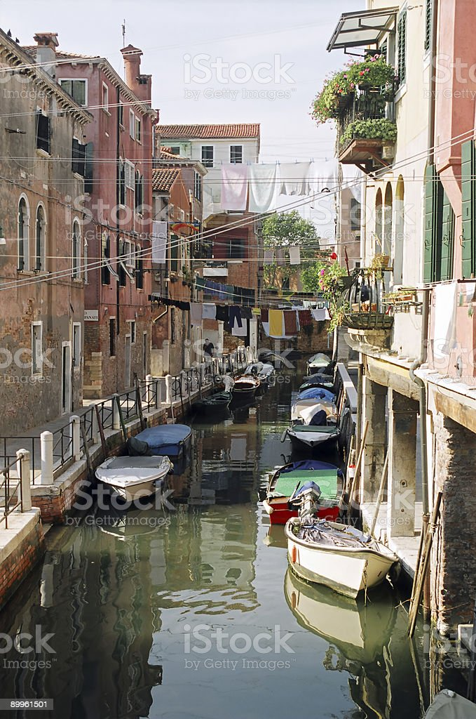 Residential canal in Venice royalty-free stock photo