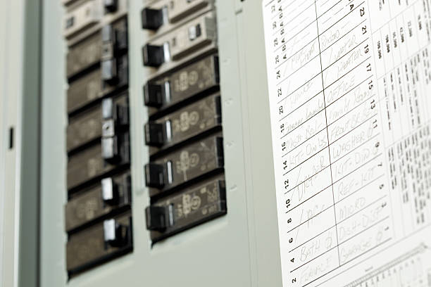 Residential Circuit Breaker Panel with Service Writing stock photo