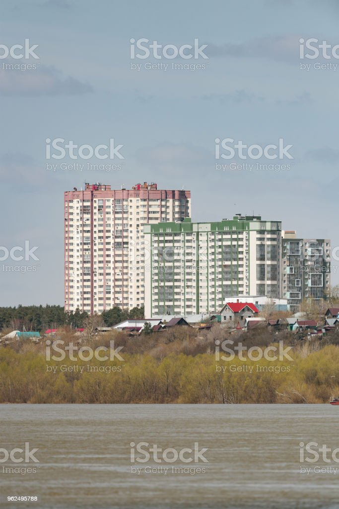 Residential complex on the river bank - Royalty-free Apartment Stock Photo