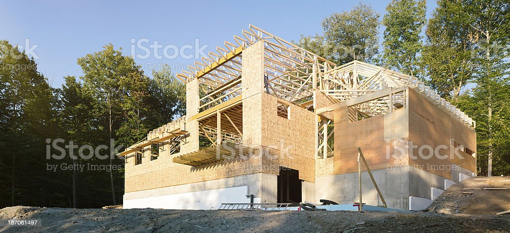 Residential construction site on a slope royalty-free stock photo