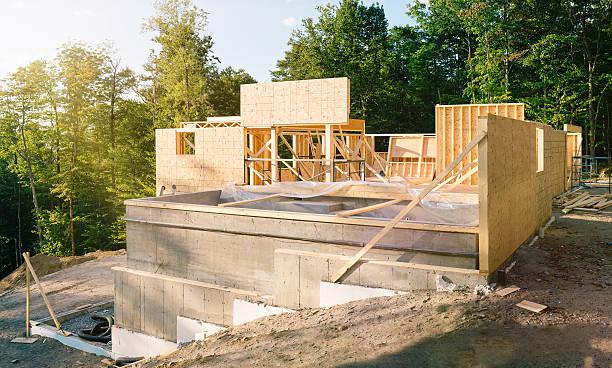 residential construction site panorama with pool - i̇nsan yapımı yapı stok fotoğraflar ve resimler