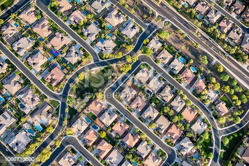 Aerial view looking directly down on homes in a planned exclusive residential community in the Scottsdale area of Arizona.