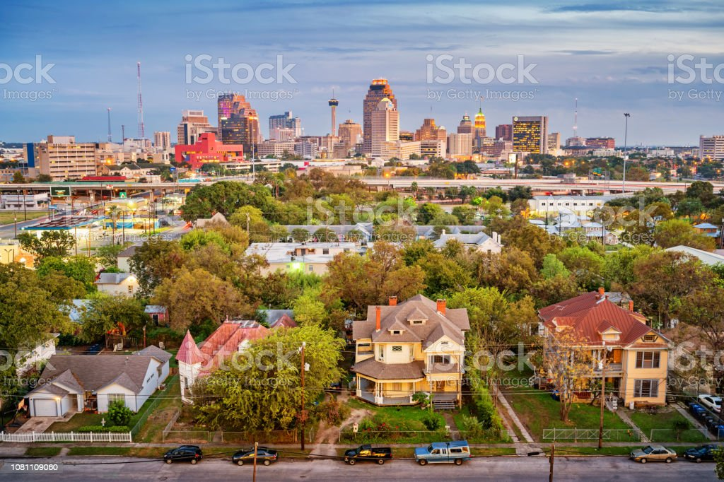 Residential district and skyline of San Antonio Texas USA stock photo