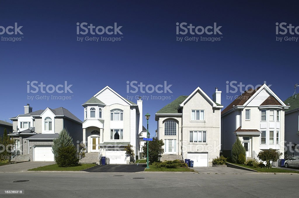 residential district houses in a row view on neighbourhood houses Architecture Stock Photo