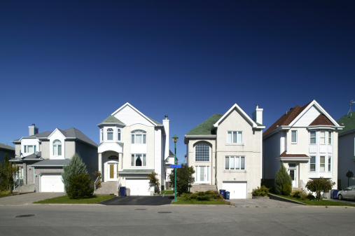 Residential District Houses In A Row Stock Photo - Download Image Now