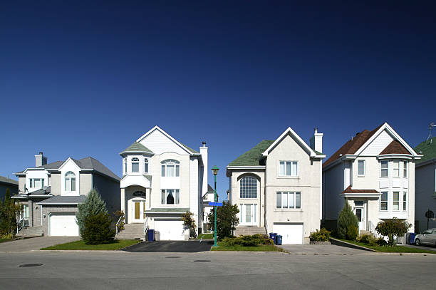 residential district houses in a row stock photo