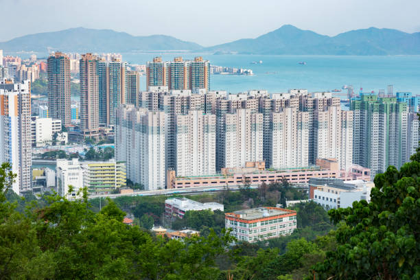 Residential district in Hong Kong city Aerial view of Tuen Mun city in Hong Kong new territories stock pictures, royalty-free photos & images
