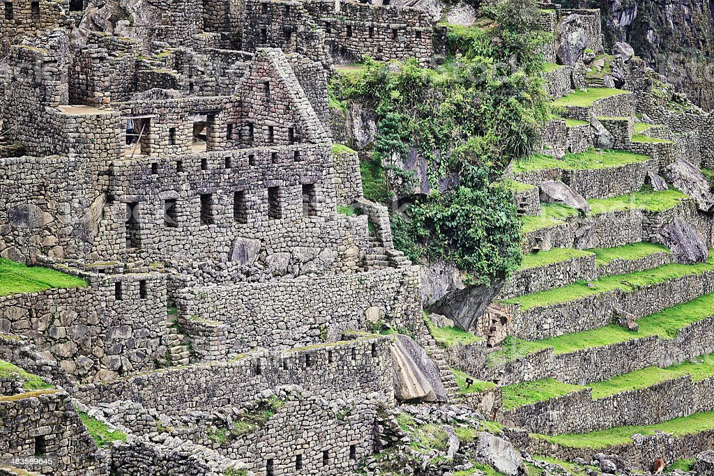 Residential District of Machu Picchu royalty-free stock photo