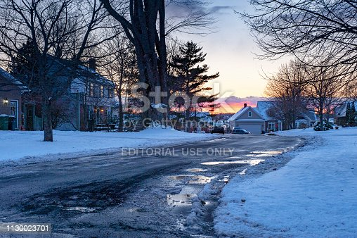 Prince Edward Island, Canada - November 22, 2012: Residential District winter after snowing at dusk in Charlottetown, Prince Edward Island, Canada.