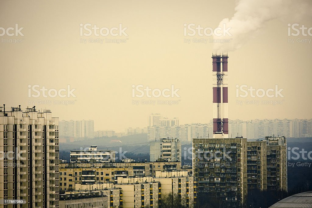Residential district with chimneys royalty-free stock photo