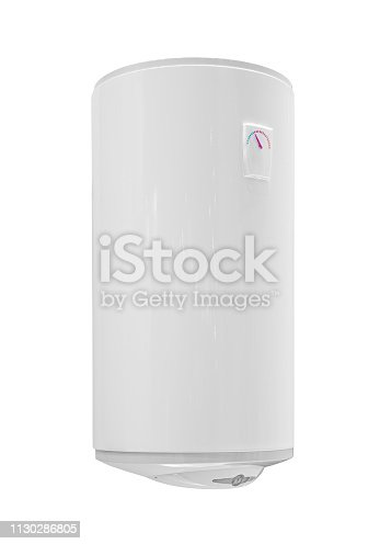 istock A residential electric water heater, isolated on white 1130286805