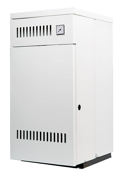residential gas heater, isolated on white - furnace stock photos and pictures