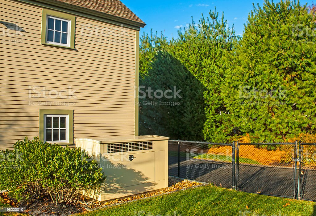 Residential generator stock photo