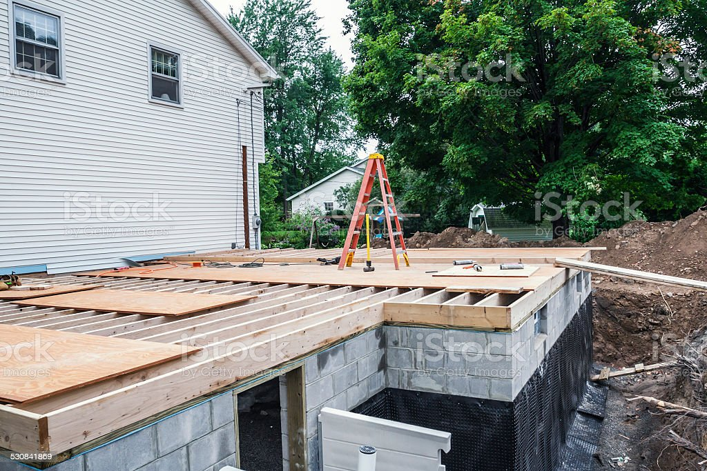 Residential Home Addition Construction Building Site stock photo
