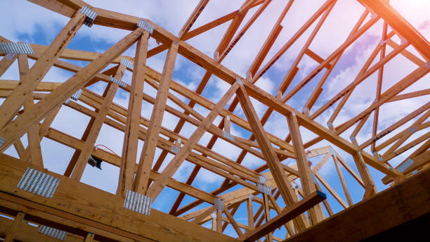 residential home framing view on new house wooden under construction - building activity stock pictures, royalty-free photos & images