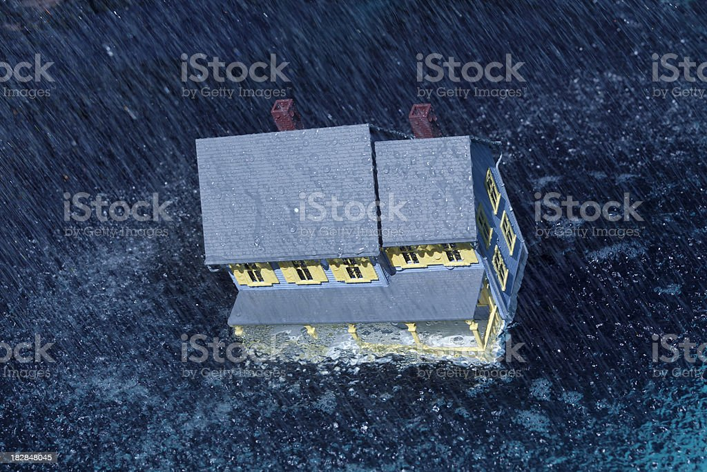 Residential Home Washed Away by Dangerous Storm and Flood royalty-free stock photo