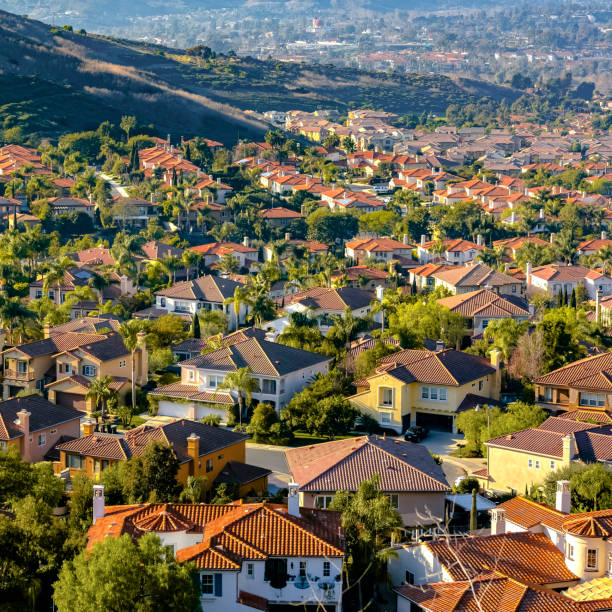 Residential homes on a sunny hill in San Clemente stock photo