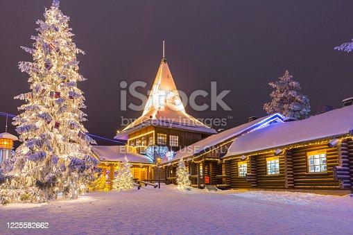 istock Residential House and Office of Santa Claus (Joulupukki) in Rovaniemi Village in Finland in December 29, 2017 1225582662