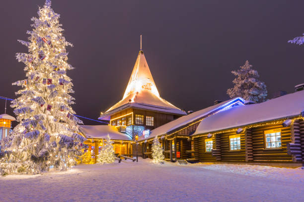 Residential House and Office of Santa Claus (Joulupukki) in Rovaniemi Village in Finland in December 29, 2017