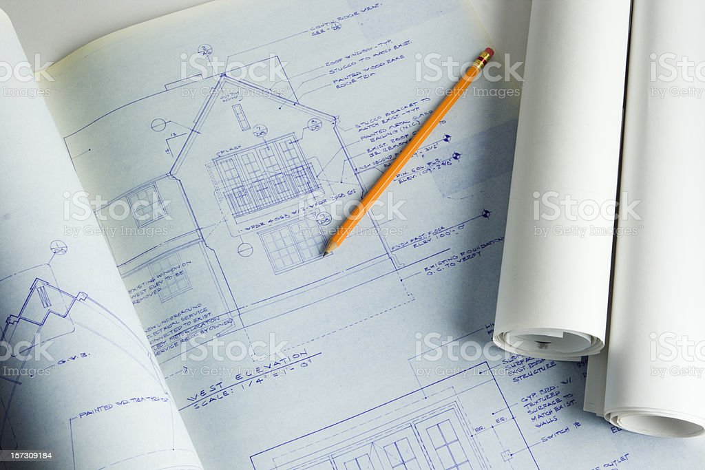 Residential House Blueprint Plan for New Home Addition and Construction royalty-free stock photo
