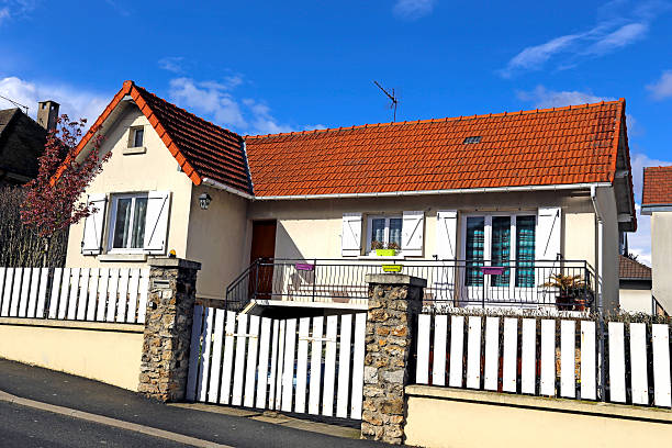 Residential house, France House in the comfortable south suburb of Paris, Massy-Palaiseau town, France / Full frame ile de france stock pictures, royalty-free photos & images