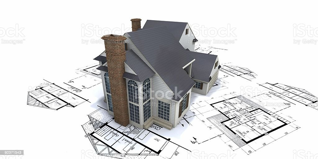 Residential house on top of architect blueprints 2 royalty-free stock photo