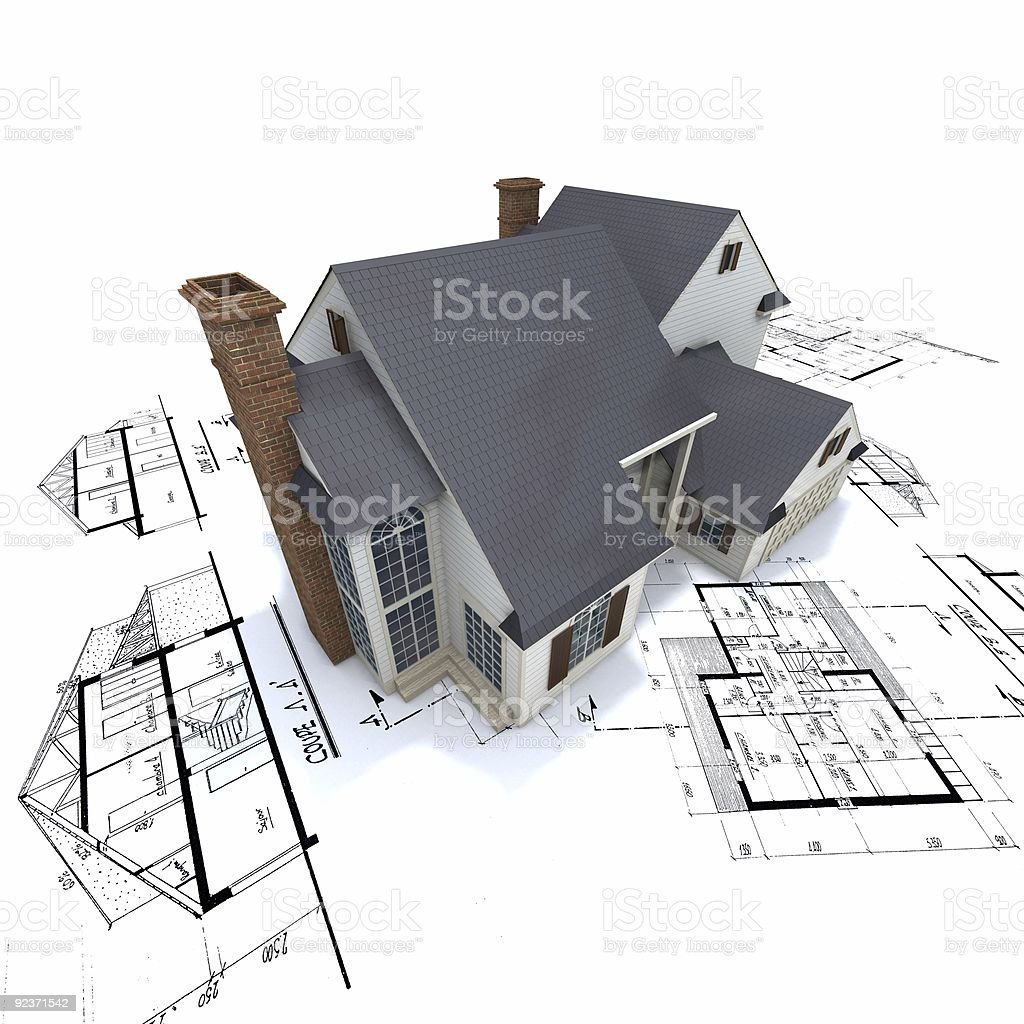 Residential house on top of architect blueprints royalty-free stock photo