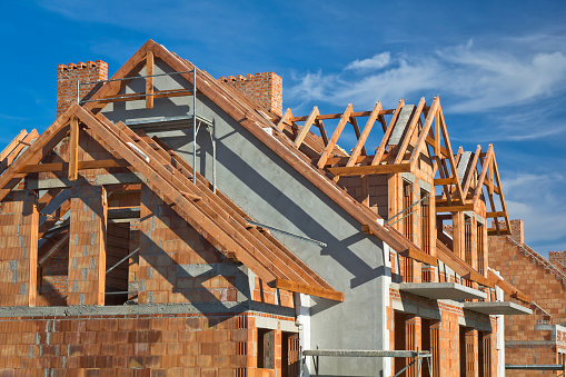 Residential House Under Construction Stock Photo - Download Image Now