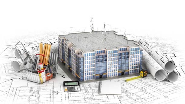 Wohnhaus mit Tools auf Architekt Baupläne. Wohnprojekt. 3D – Foto