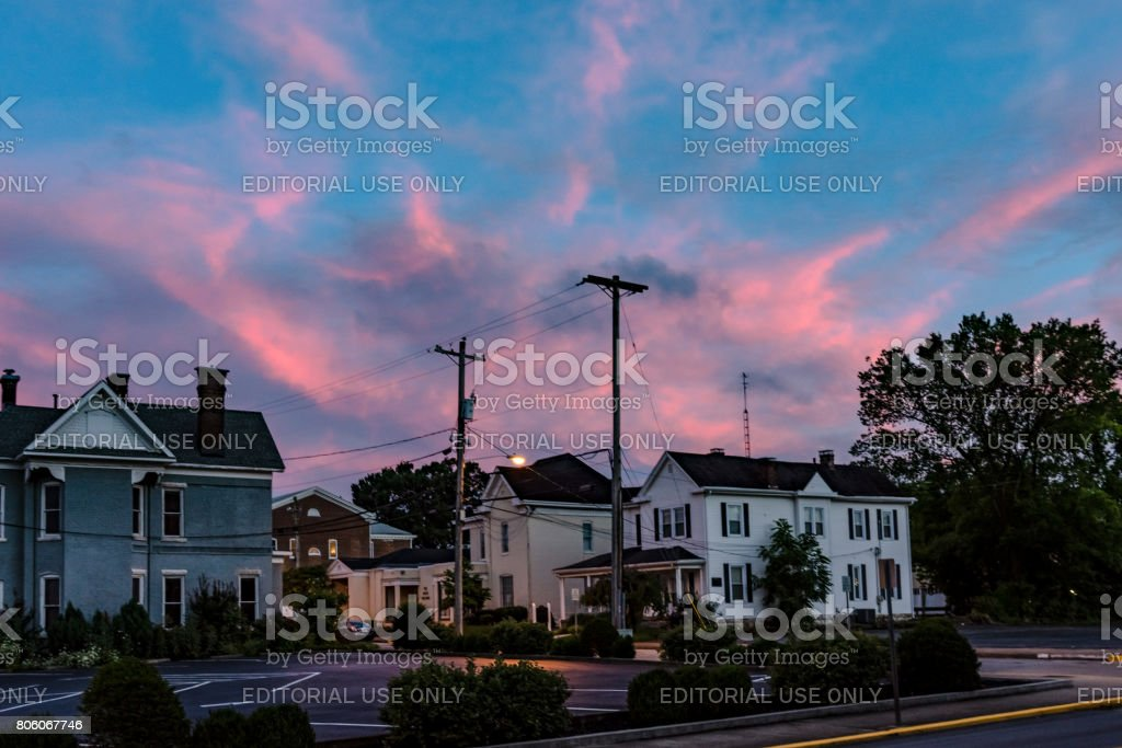 Residential houses at dusk stock photo