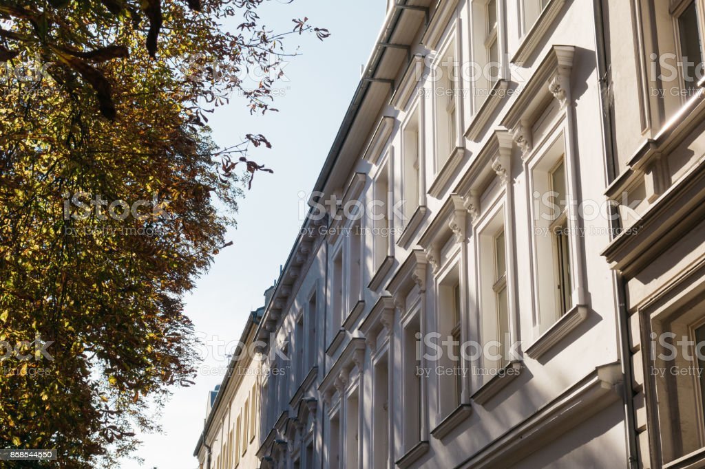 residential houses with green tree stock photo