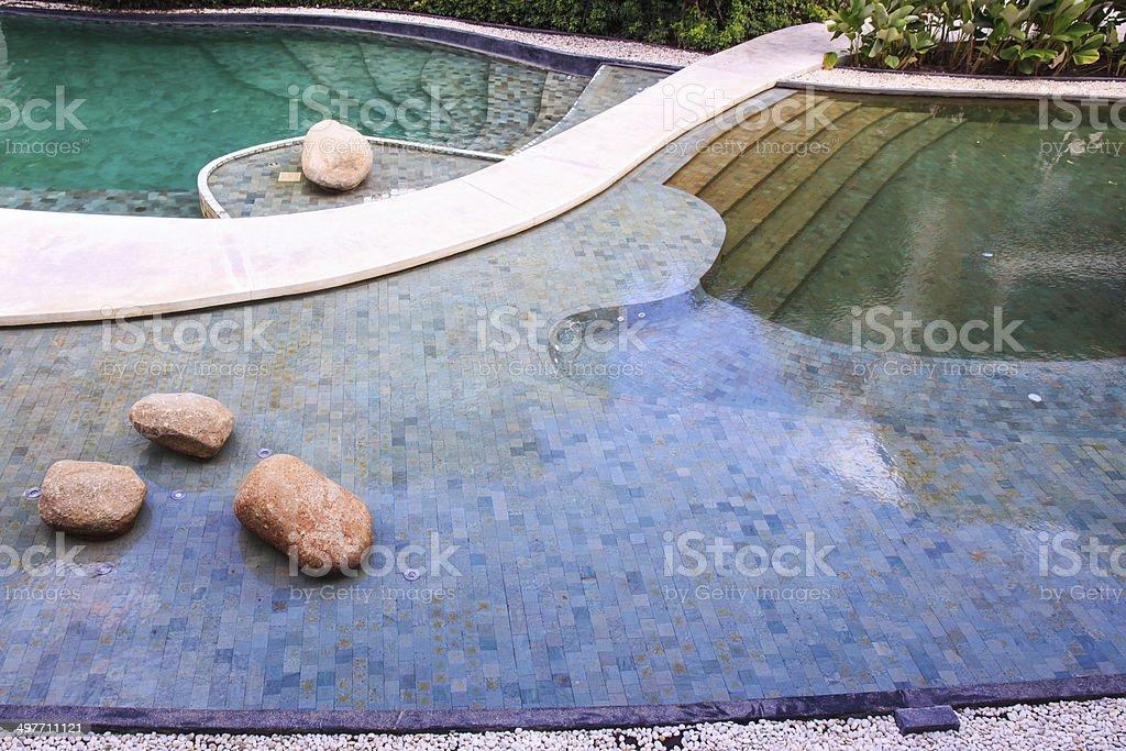 Residential Inground Swimming Pool in Backyard. royalty-free stock photo